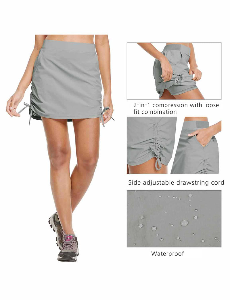 Baleaf Womens UPF50+ High-Rise 2-in-1 Adjustable Outdoor Skirt Gray details