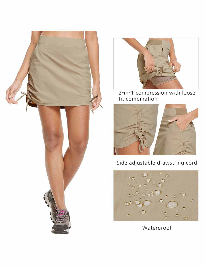 Baleaf Womens UPF50+ High-Rise 2-in-1 Adjustable Outdoor Skirt Khaki details