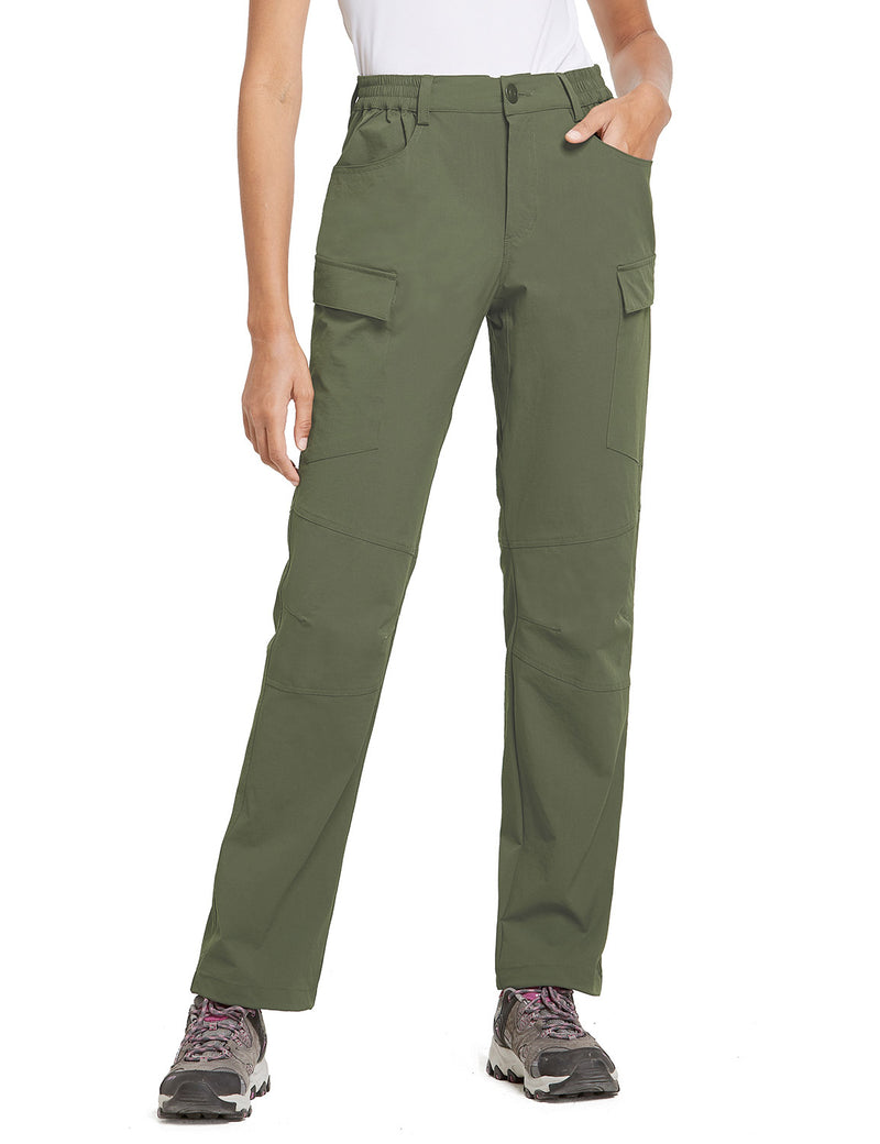 Baleaf Women UPF50+ Water Resistant Outdoor Convertible Pants Army Green Side