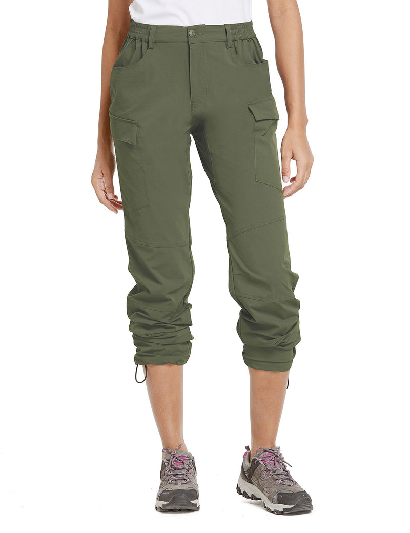 Baleaf Women UPF50+ Water Resistant Outdoor Convertible Pants Army Green Front