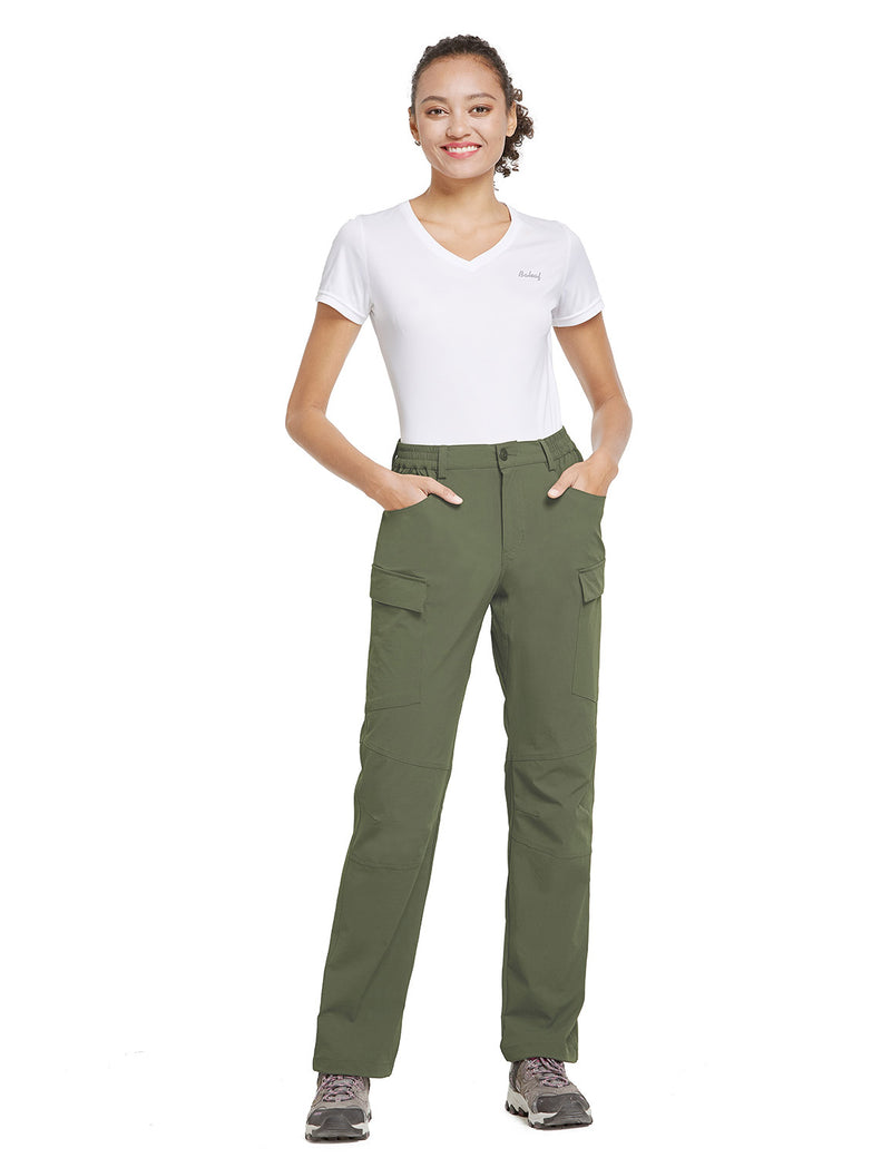 Baleaf Women UPF50+ Water Resistant Outdoor Convertible Pants Army Green Full