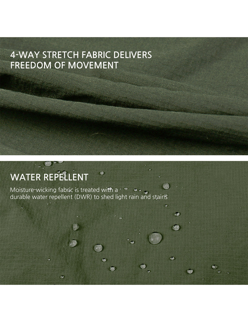 Baleaf Women UPF50+ Water Resistant Outdoor Convertible Pants Army Green Details