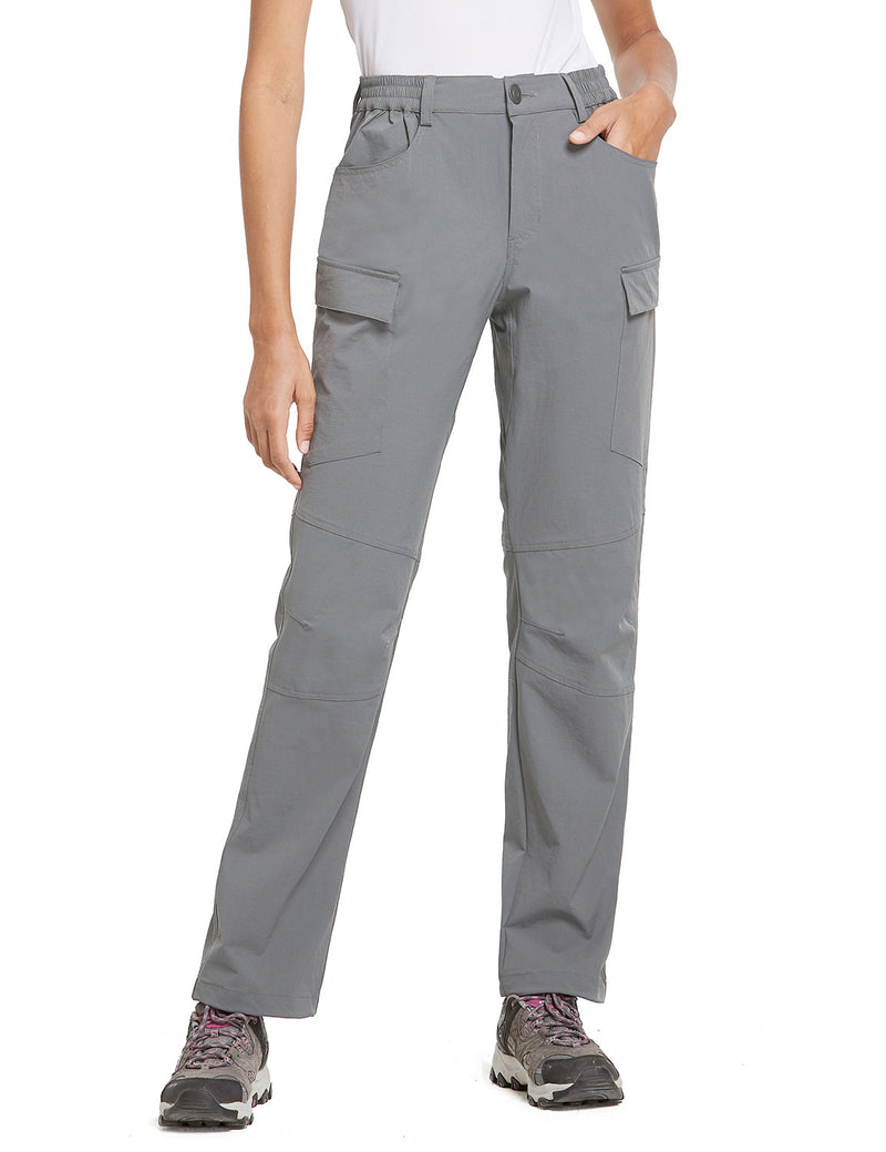 Baleaf Women UPF50+ Water Resistant Outdoor Convertible Pants Light Gray Side