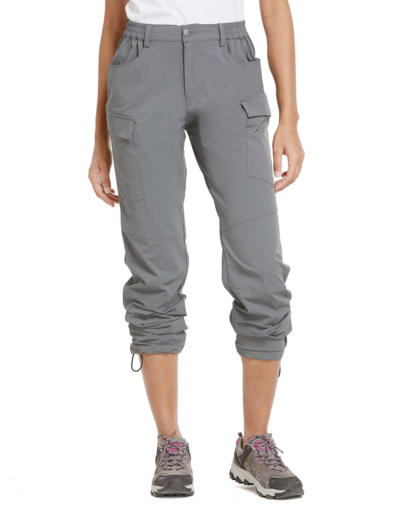 Baleaf Women UPF50+ Water Resistant Outdoor Convertible Pants Light Gray Front