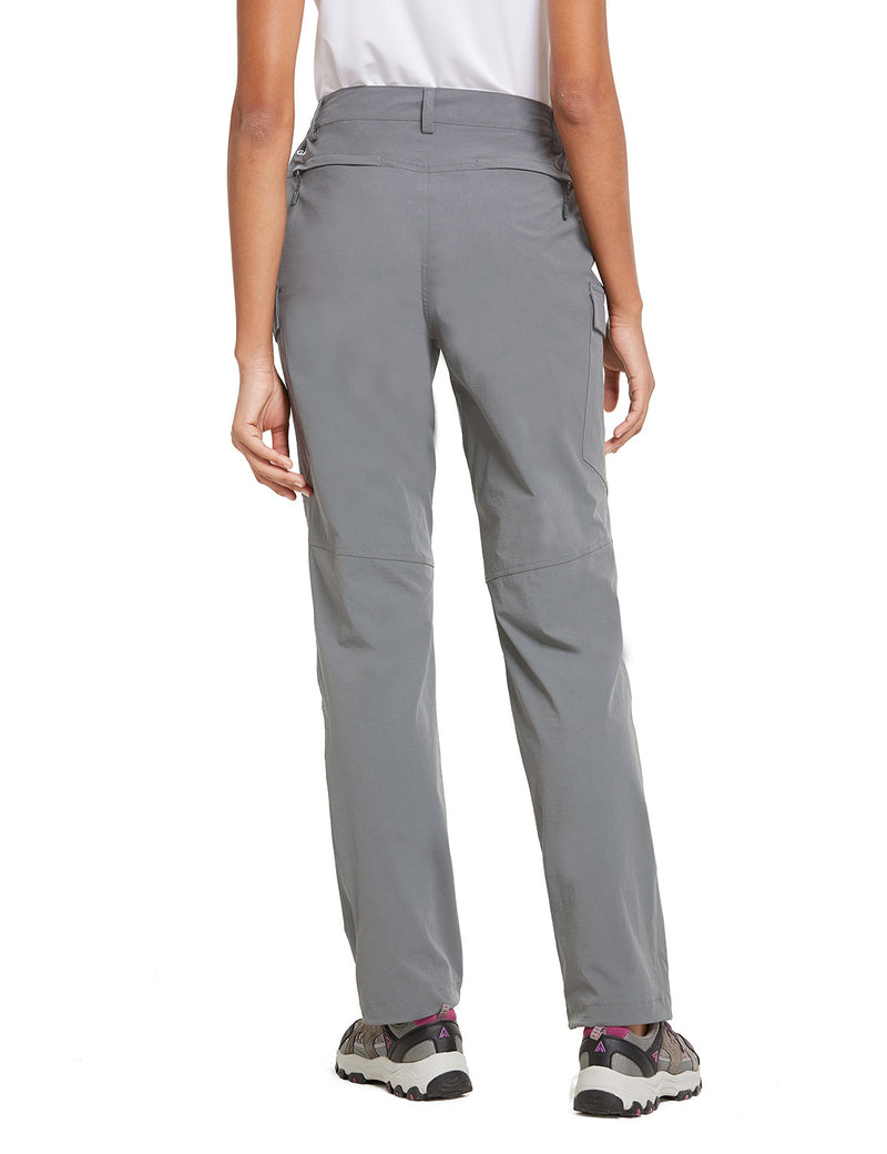 Baleaf Women UPF50+ Water Resistant Outdoor Convertible Pants Light Gray Back