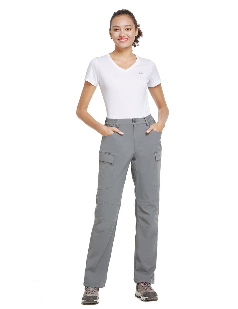Baleaf Women UPF50+ Water Resistant Outdoor Convertible Pants Light Gray Full