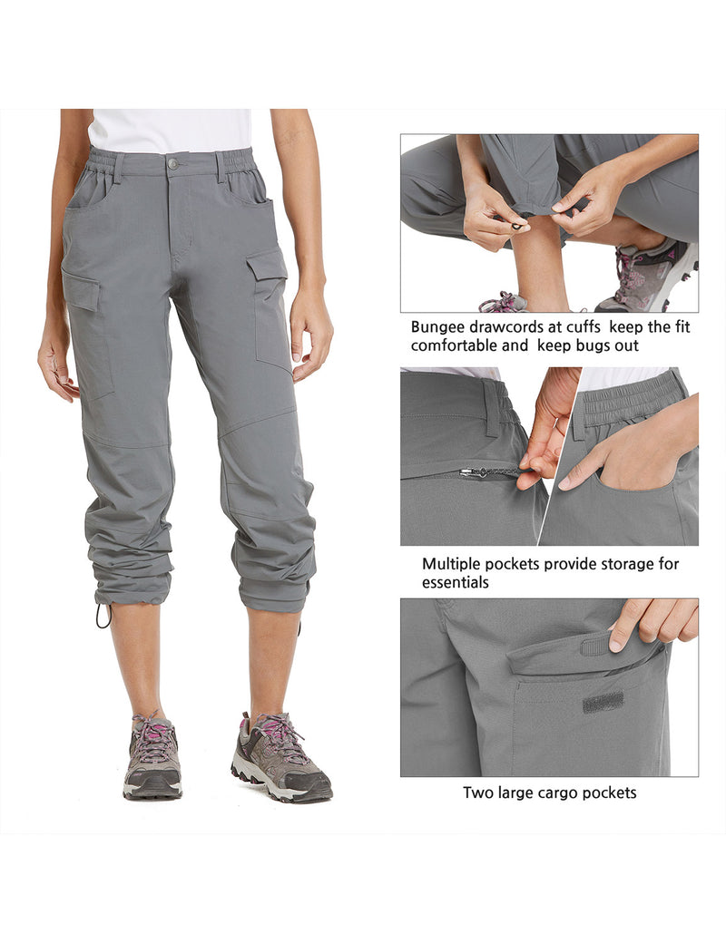 Baleaf Women UPF50+ Water Resistant Outdoor Convertible Pants Light Gray Details