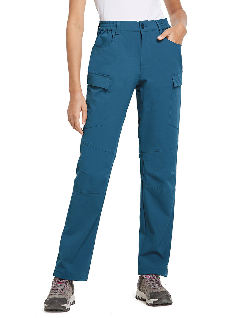Baleaf Women UPF50+ Water Resistant Outdoor Convertible Pants Blue Side