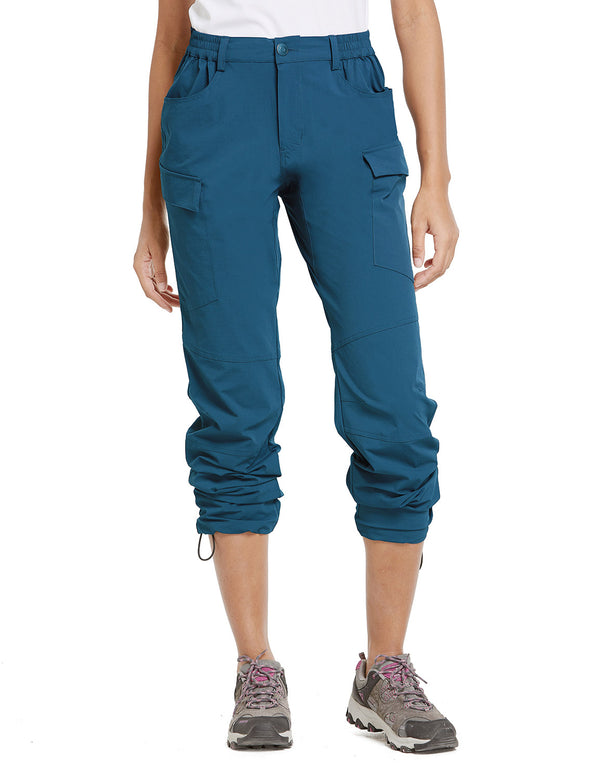 Baleaf Women UPF50+ Water Resistant Outdoor Convertible Pants Blue Front