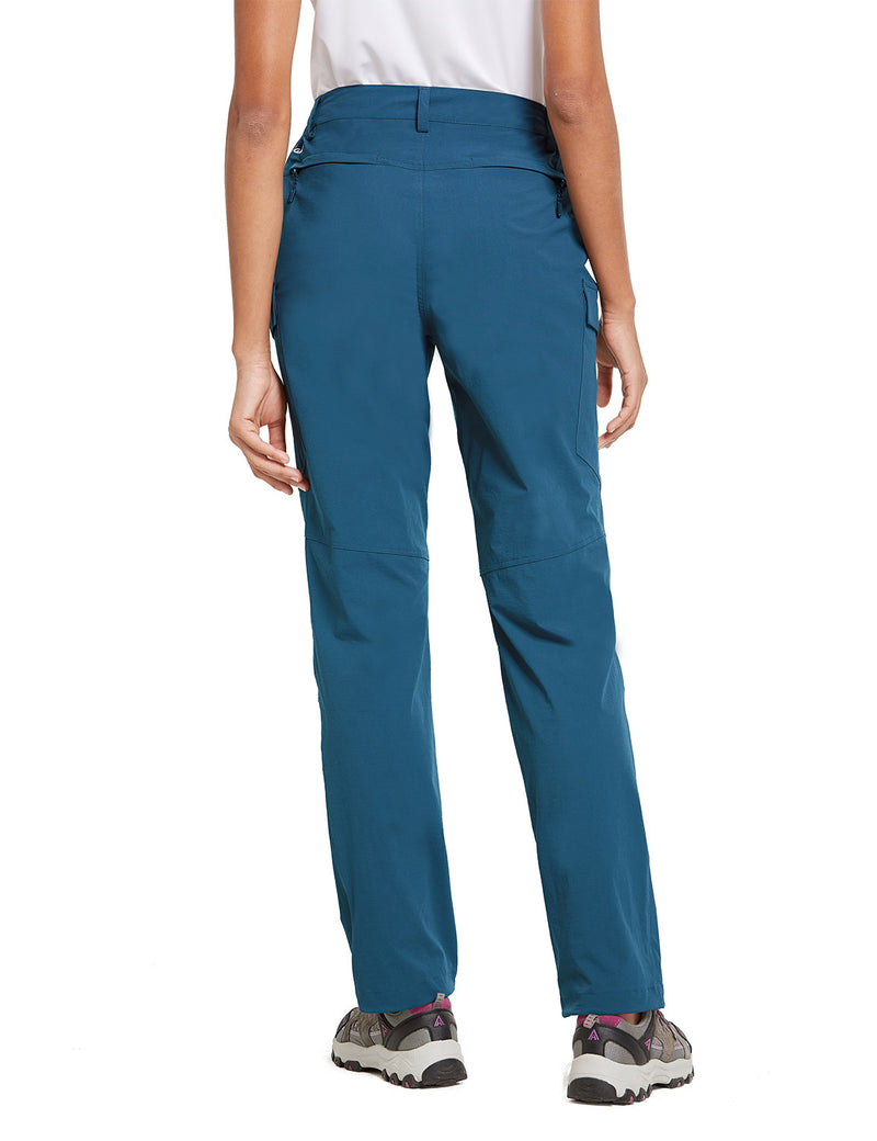 Baleaf Women UPF50+ Water Resistant Outdoor Convertible Pants Blue Back