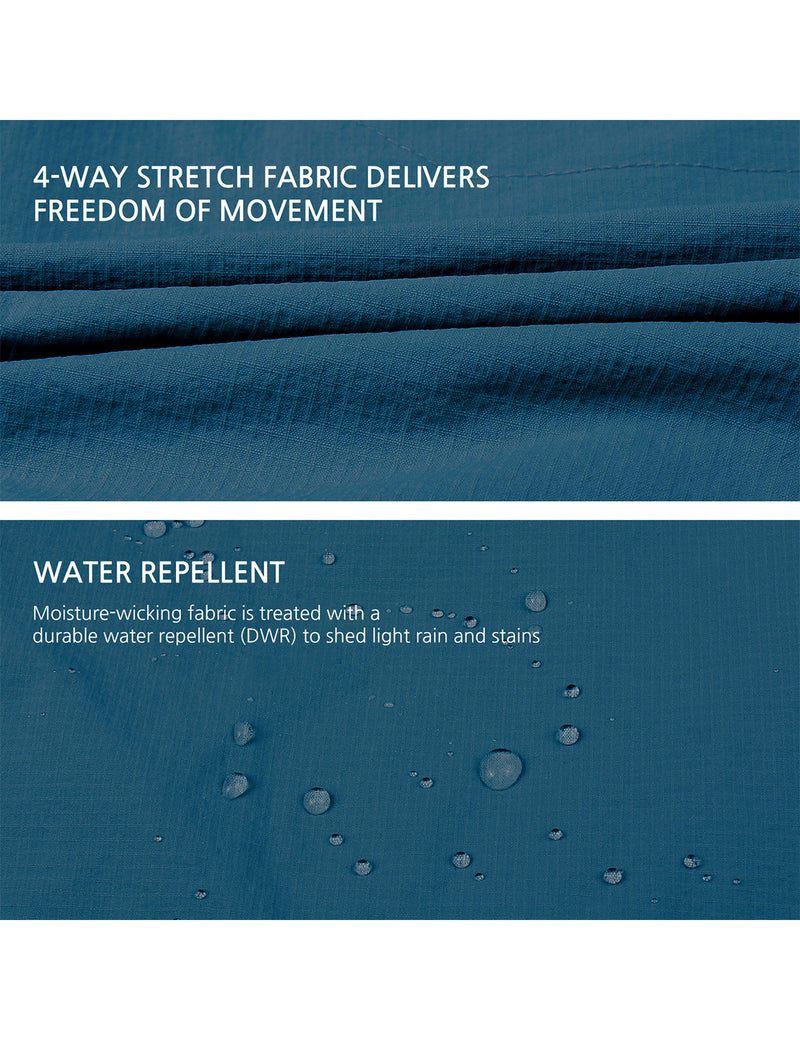 Baleaf Women UPF50+ Water Resistant Outdoor Convertible Pants Blue Details
