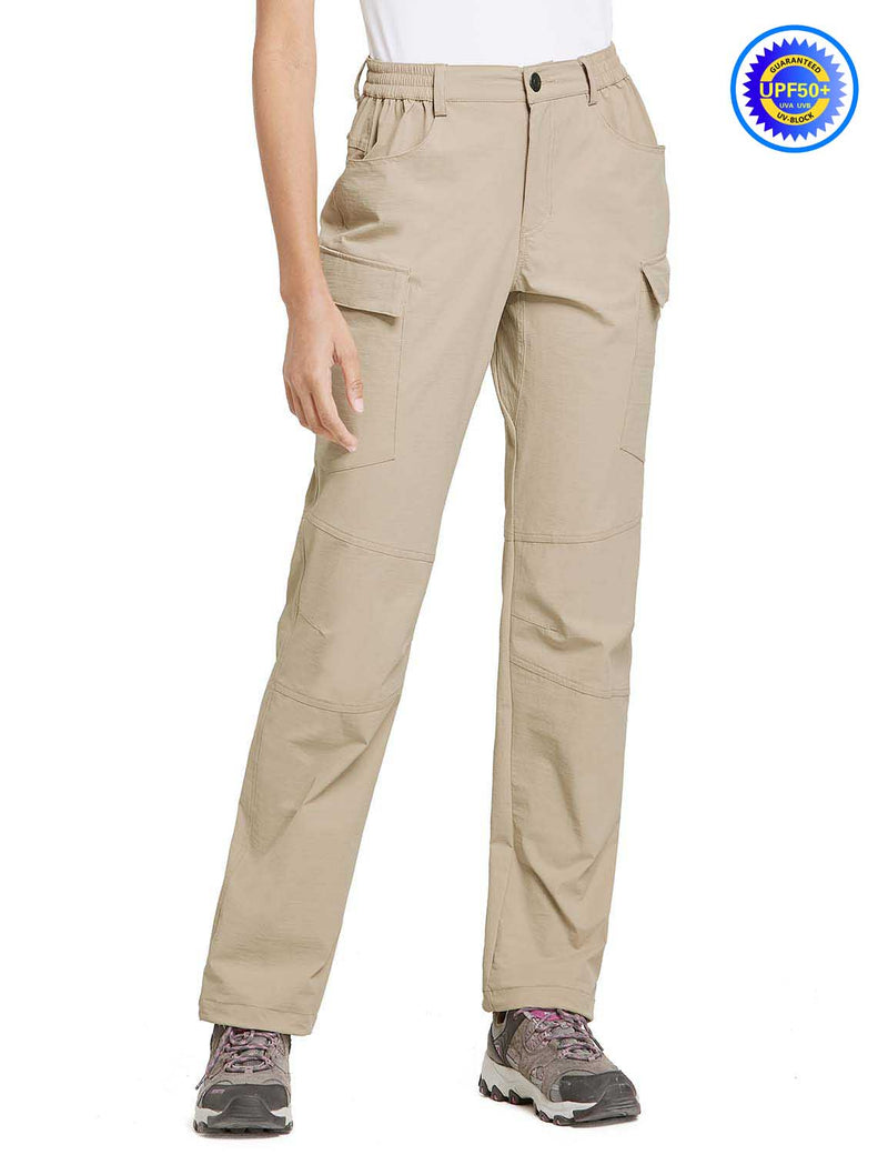 Baleaf Women UPF50+ Water Resistant Outdoor Convertible Pants Khaki Side