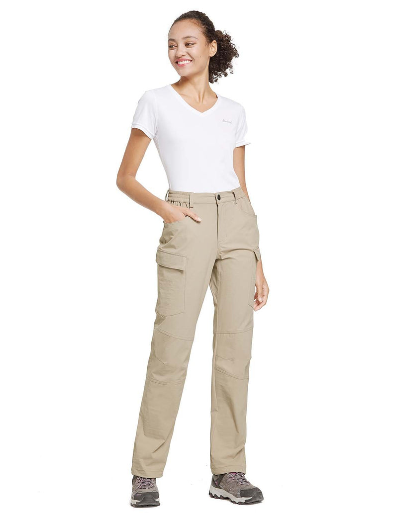 Baleaf Womens UPF 50+ Water Resistant Outdoor & Hiking Athletic Stretch Pants Khaki full
