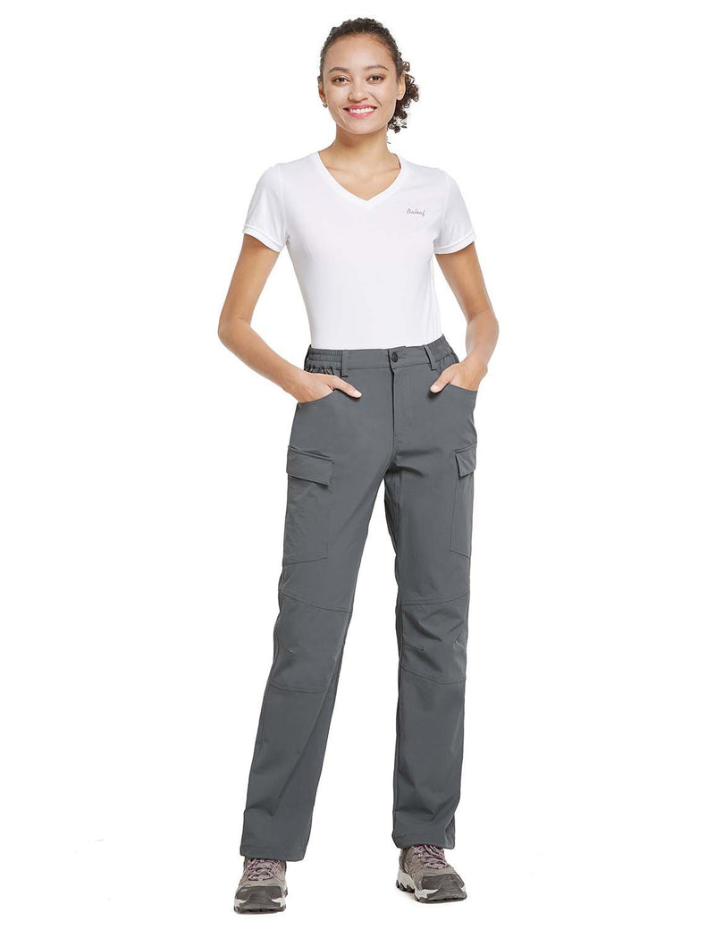 Baleaf Womens UPF 50+ Water Resistant Outdoor & Hiking Athletic Stretch Pants Gray full