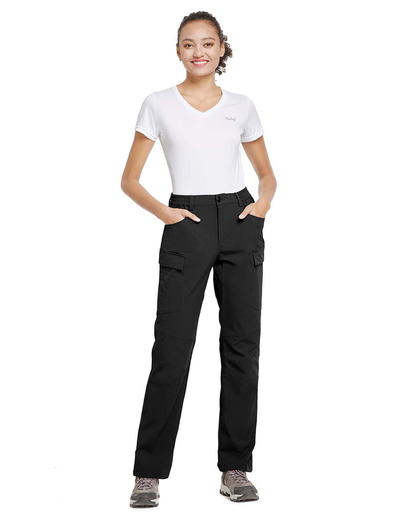 Baleaf Womens UPF 50+ Water Resistant Outdoor & Hiking Athletic Stretch Pants Black full