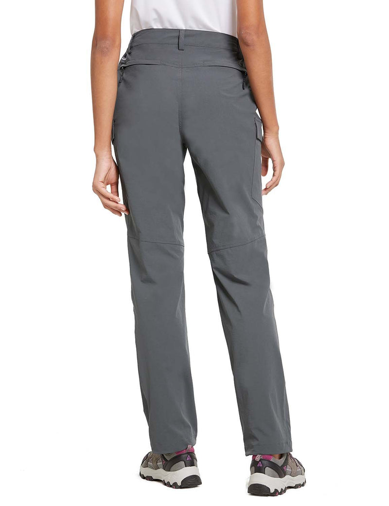 Baleaf Womens UPF 50+ Water Resistant Outdoor & Hiking Athletic Stretch Pants Gray back