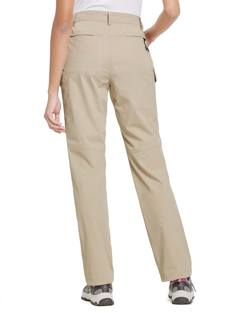 Baleaf Womens UPF 50+ Water Resistant Outdoor & Hiking Athletic Stretch Pants Khaki back