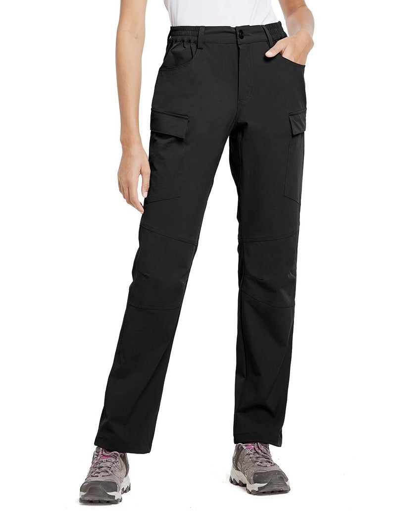 Baleaf Womens UPF 50+ Water Resistant Outdoor & Hiking Athletic Stretch Pants Black side
