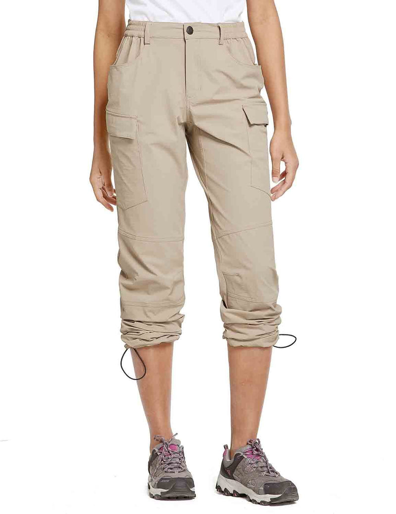 Baleaf Womens UPF 50+ Water Resistant Outdoor & Hiking Athletic Stretch Pants Khaki front