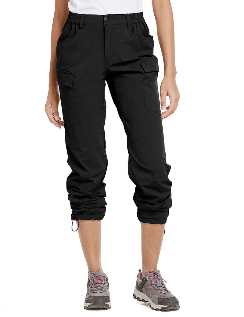 Baleaf Womens UPF 50+ Water Resistant Outdoor & Hiking Athletic Stretch Pants Black front