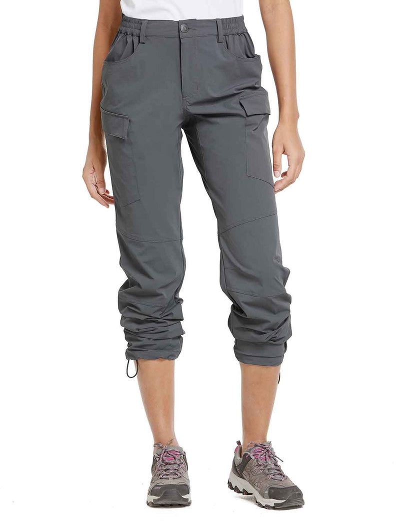 Baleaf Womens UPF 50+ Water Resistant Outdoor & Hiking Athletic Stretch Pants Gray front