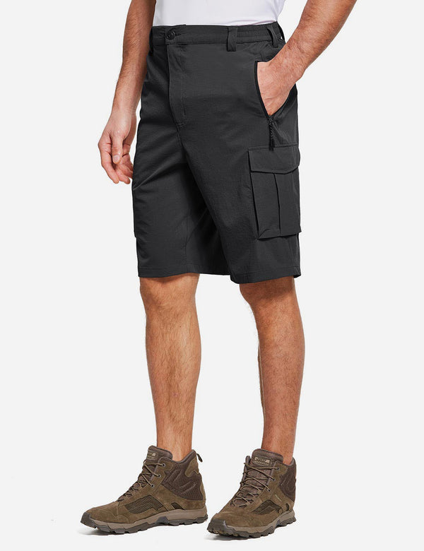 Baleaf Men's UPF50+ Multi-Pocketed Lightweight Outdoor Cargo Shorts Black Side