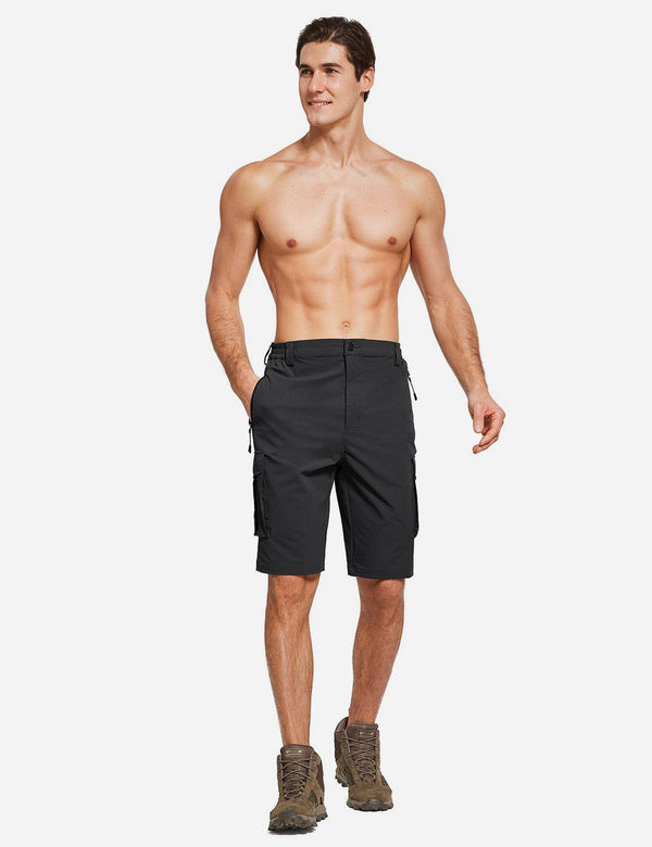 Baleaf Men's UPF50+ Multi-Pocketed Lightweight Outdoor Cargo Shorts Black Full