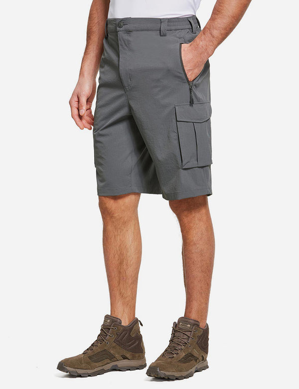 Baleaf Men's UPF50+ Multi-Pocketed Lightweight Outdoor Cargo Shorts Gray Side