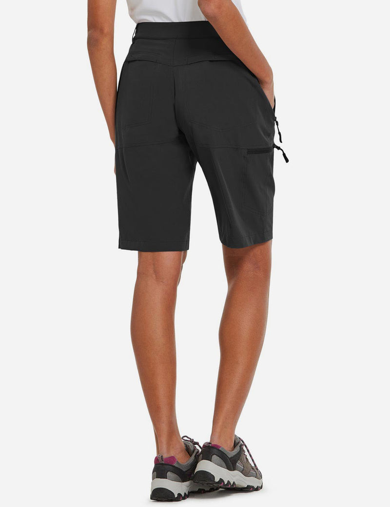 Baleaf Womens UPF 50+ Quick Dry Water Repellent Pocketed Outdoor Shorts Black back