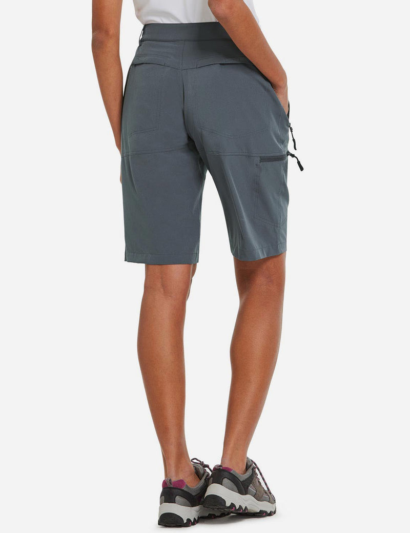 Baleaf Womens UPF 50+ Quick Dry Water Repellent Pocketed Outdoor Shorts Dark Gray back