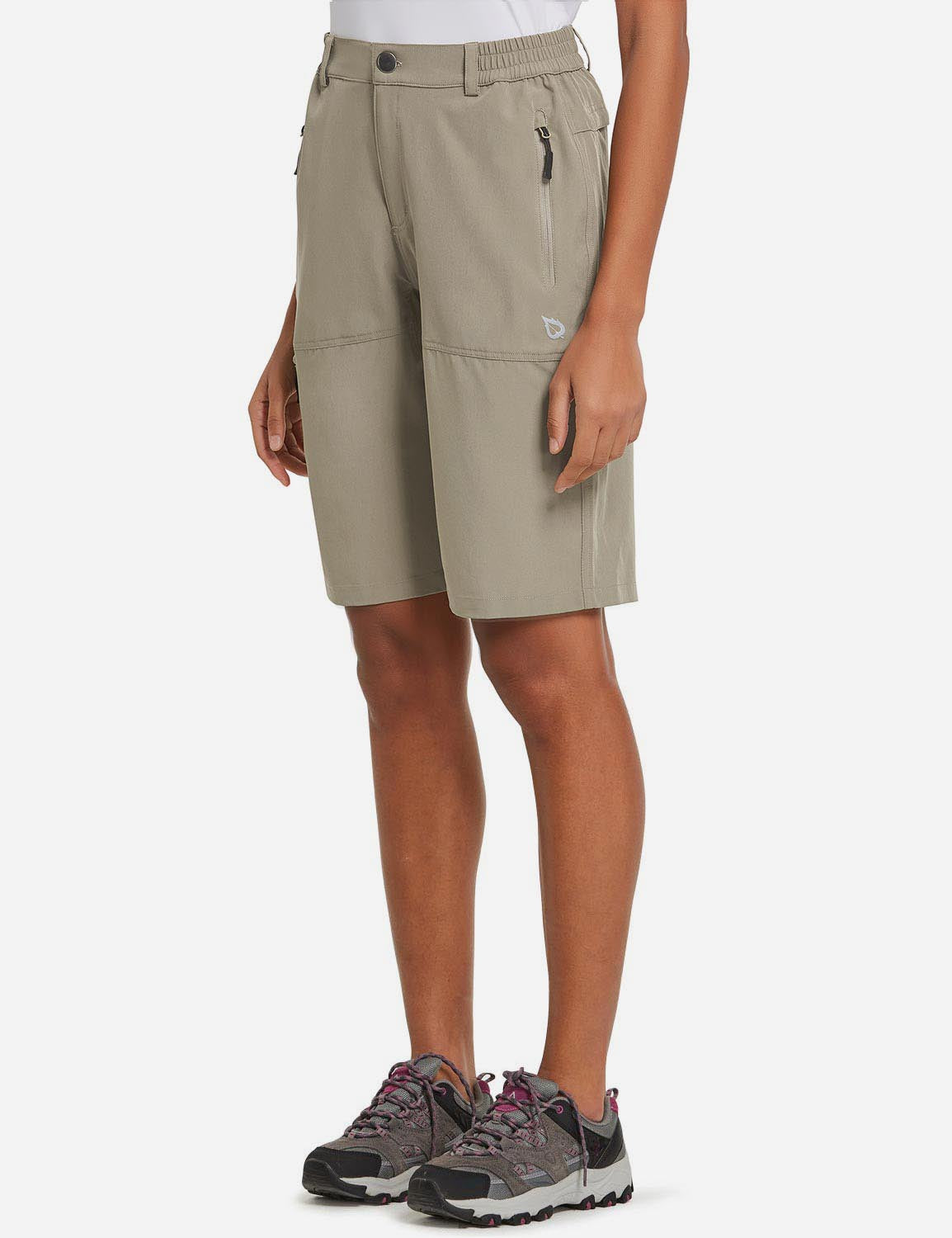 Baleaf Womens UPF50+ Quick Dry Water Repellent Pocketed Outdoor Shorts Khaki Side