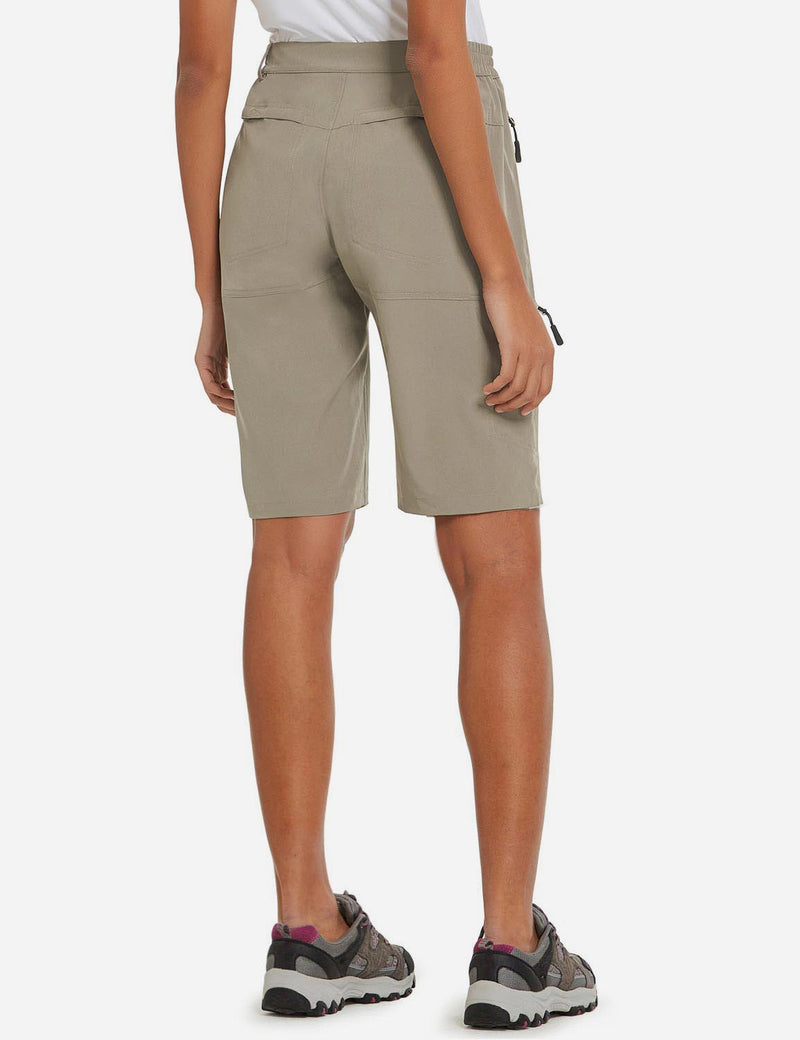 Baleaf Womens UPF50+ Quick Dry Water Repellent Pocketed Outdoor Shorts Khaki Back