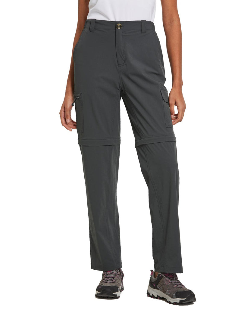 Baleaf Womens UPF 50+ Quick Dry Convertible Hiking & Outdoor Pants Deep Gray front