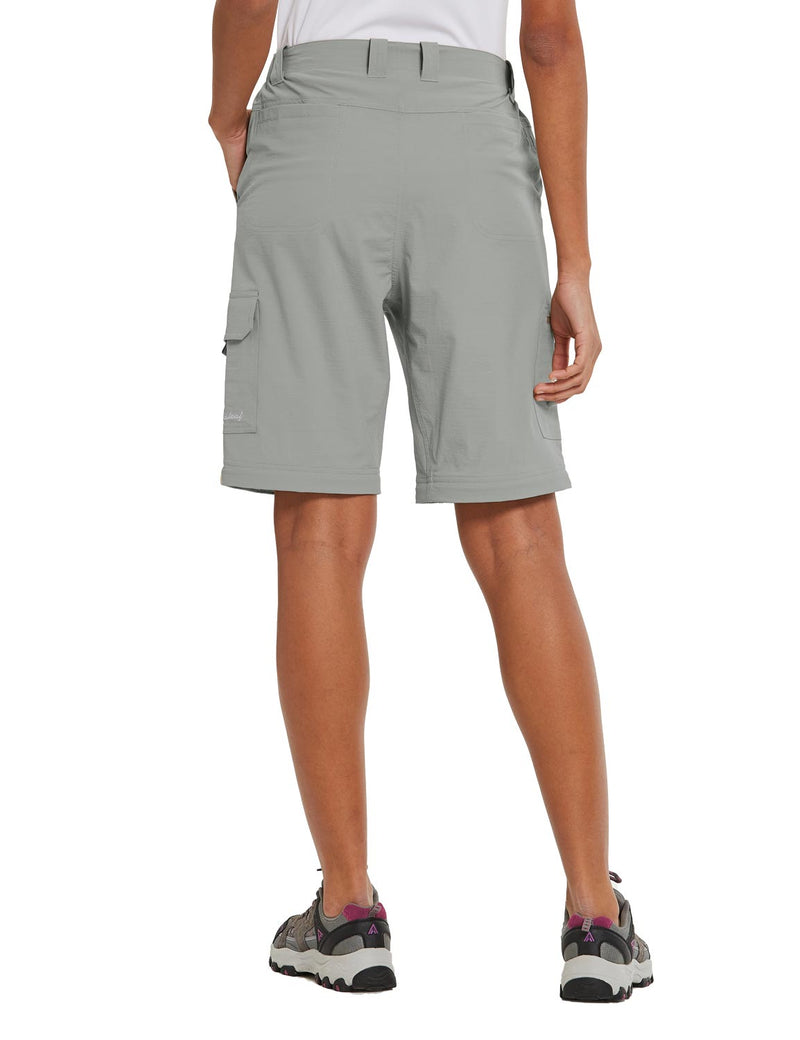 Baleaf Womens UPF 50+ Quick Dry Convertible Hiking & Outdoor Pants Light Gray back