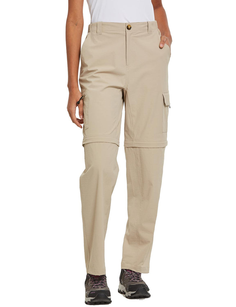 Baleaf Womens UPF 50+ Quick Dry Convertible Hiking & Outdoor Pants Khaki front