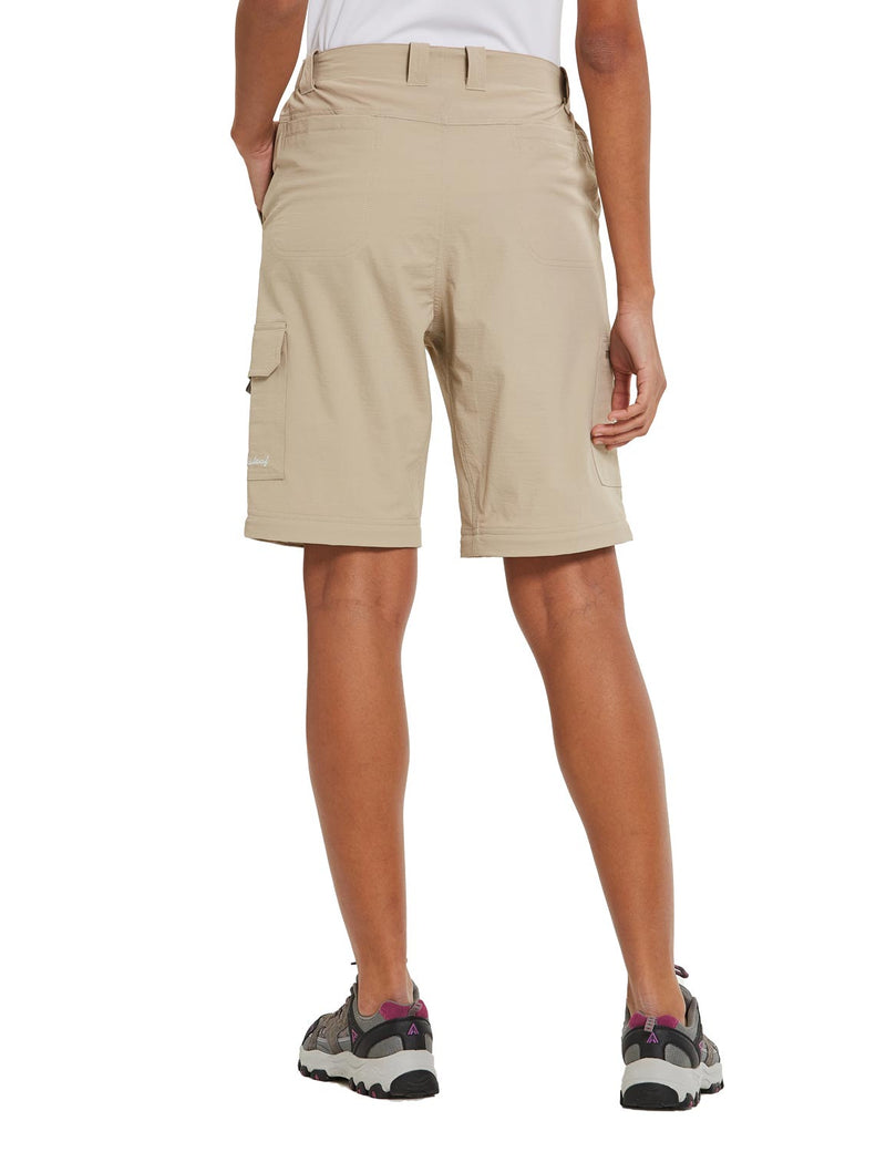 Baleaf Womens UPF 50+ Quick Dry Convertible Hiking & Outdoor Pants Khaki back