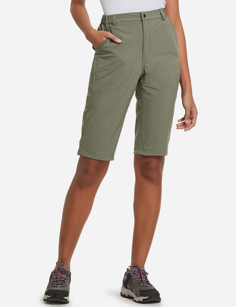 Baleaf Womens UPF50+ Quick Dry DWR Knee High Outdoor Shorts Sage Green Front