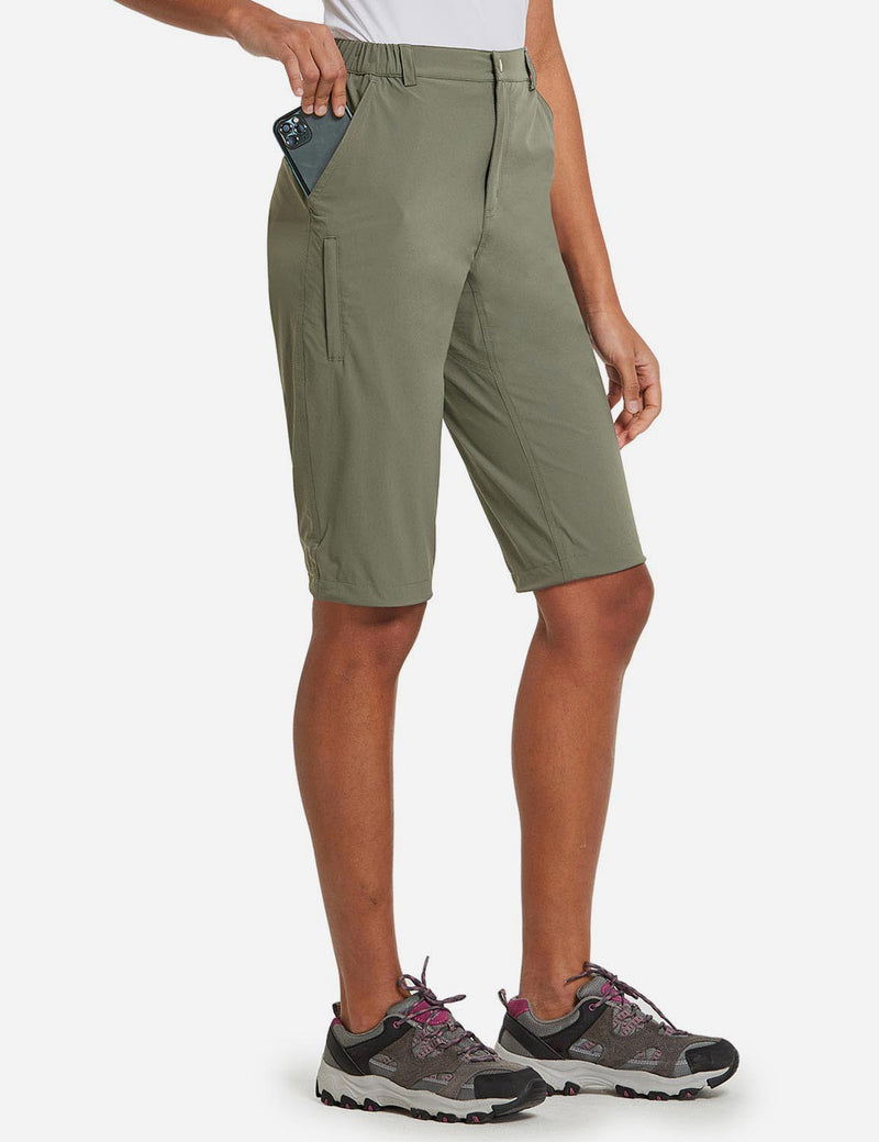 Baleaf Womens UPF50+ Quick Dry DWR Knee High Outdoor Shorts Sage Green Side