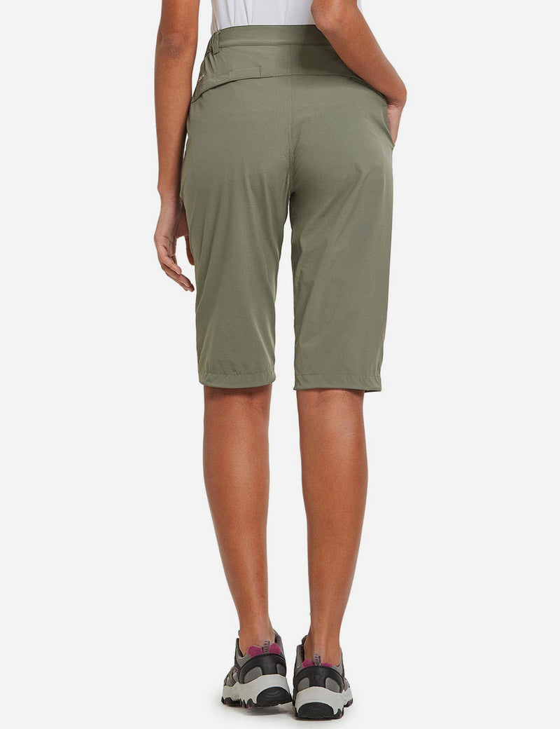 Baleaf Womens UPF50+ Quick Dry DWR Knee High Outdoor Shorts Sage Green Back