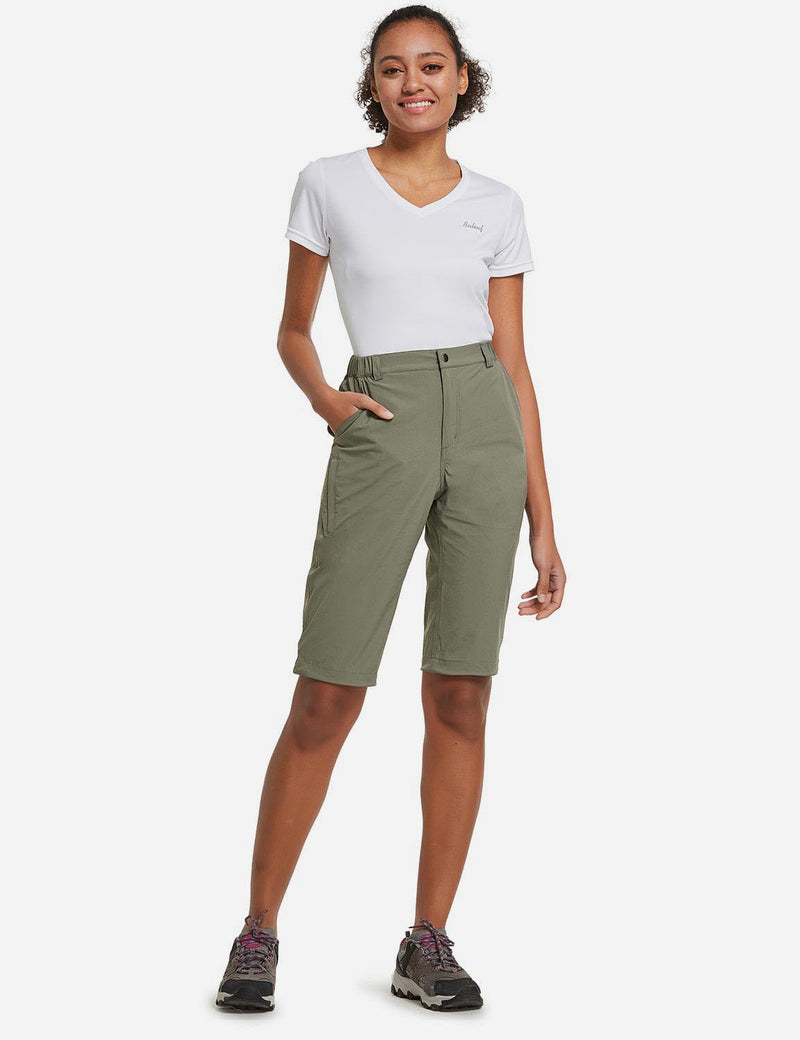Baleaf Womens UPF50+ Quick Dry DWR Knee High Outdoor Shorts Sage Green Full