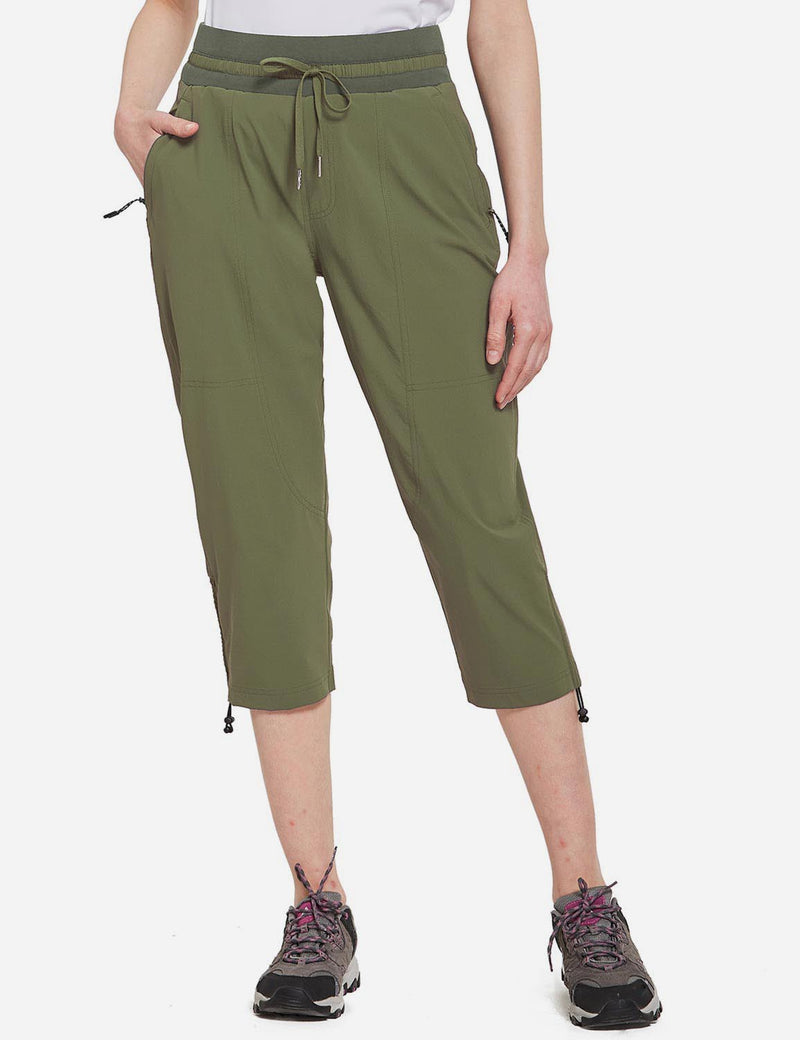 Baleaf Womens UPF50+ Mid-Rise Lightweight Adjustable Cuffs Outdoor Capris Army Green Front
