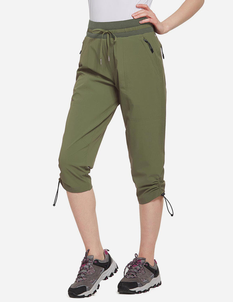 Baleaf Womens UPF50+ Mid-Rise Lightweight Adjustable Cuffs Outdoor Capris Army Green Side