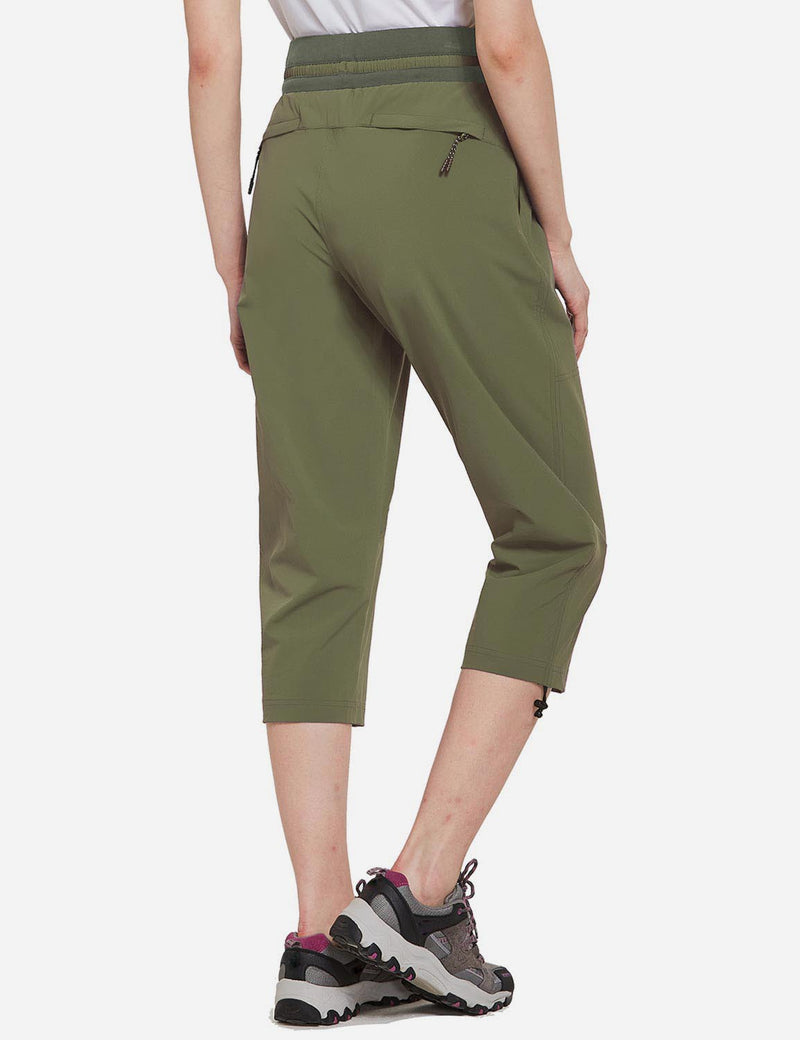 Baleaf Womens UPF50+ Mid-Rise Lightweight Adjustable Cuffs Outdoor Capris Army Green Back