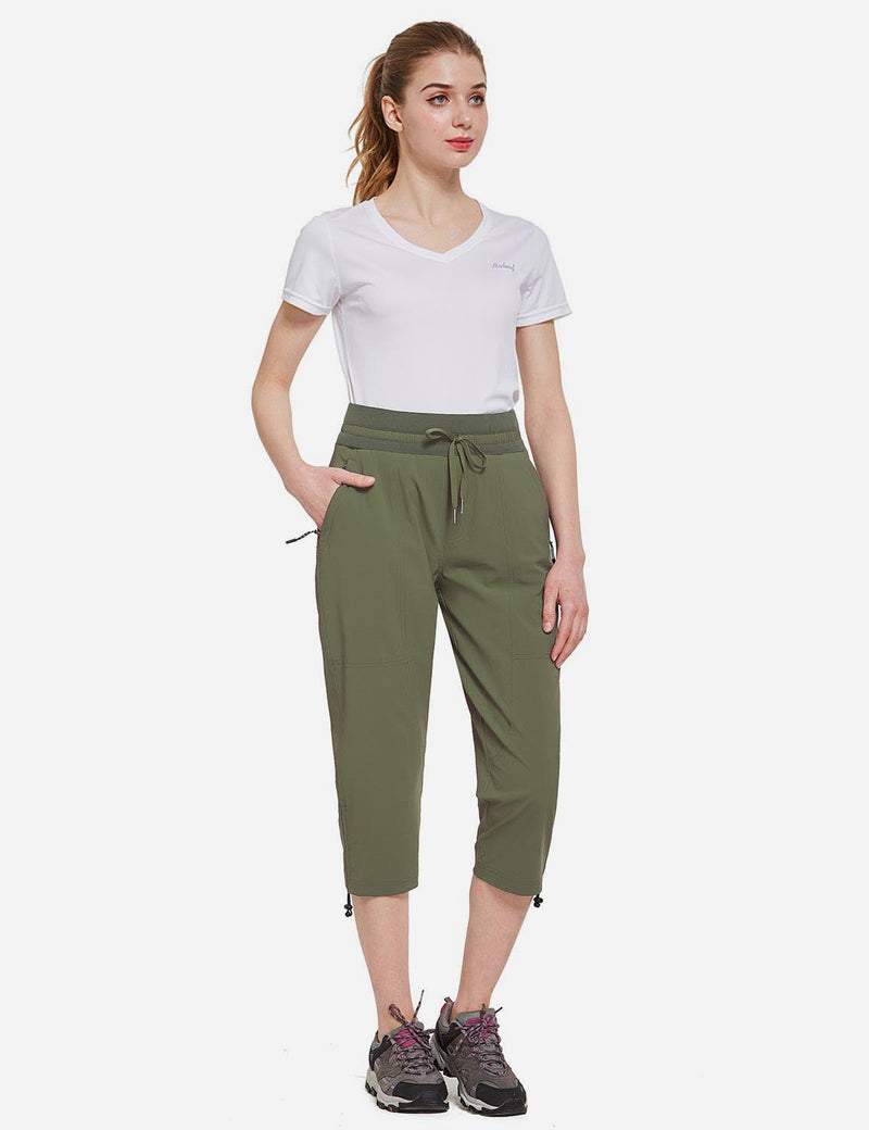 Baleaf Womens UPF50+ Mid-Rise Lightweight Adjustable Cuffs Outdoor Capris Army Green Full