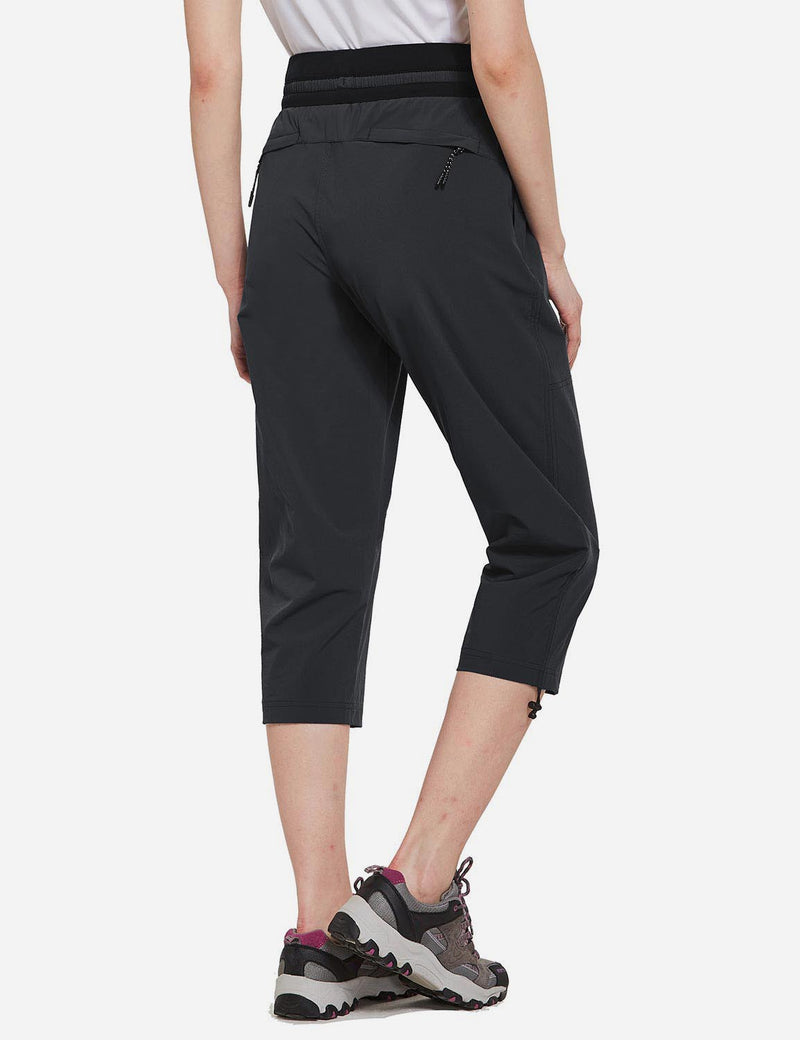 Baleaf Womens UPF50+ Mid-Rise Lightweight Adjustable Cuffs Outdoor Capris Black back