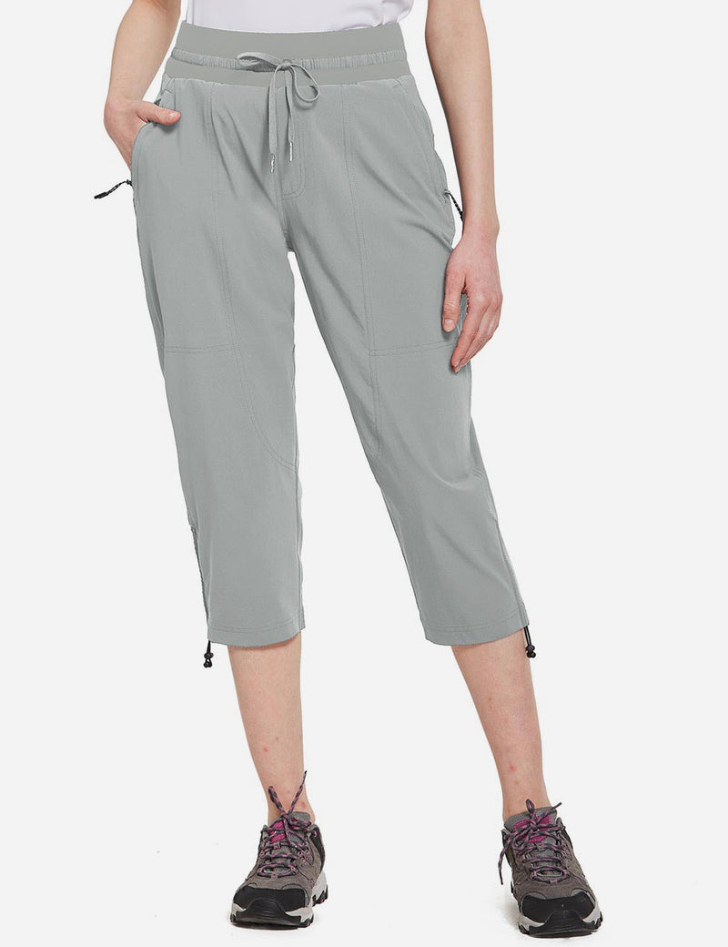 Baleaf Womens UPF50+ Mid-Rise Lightweight Adjustable Cuffs Outdoor Capris Light Gray Front