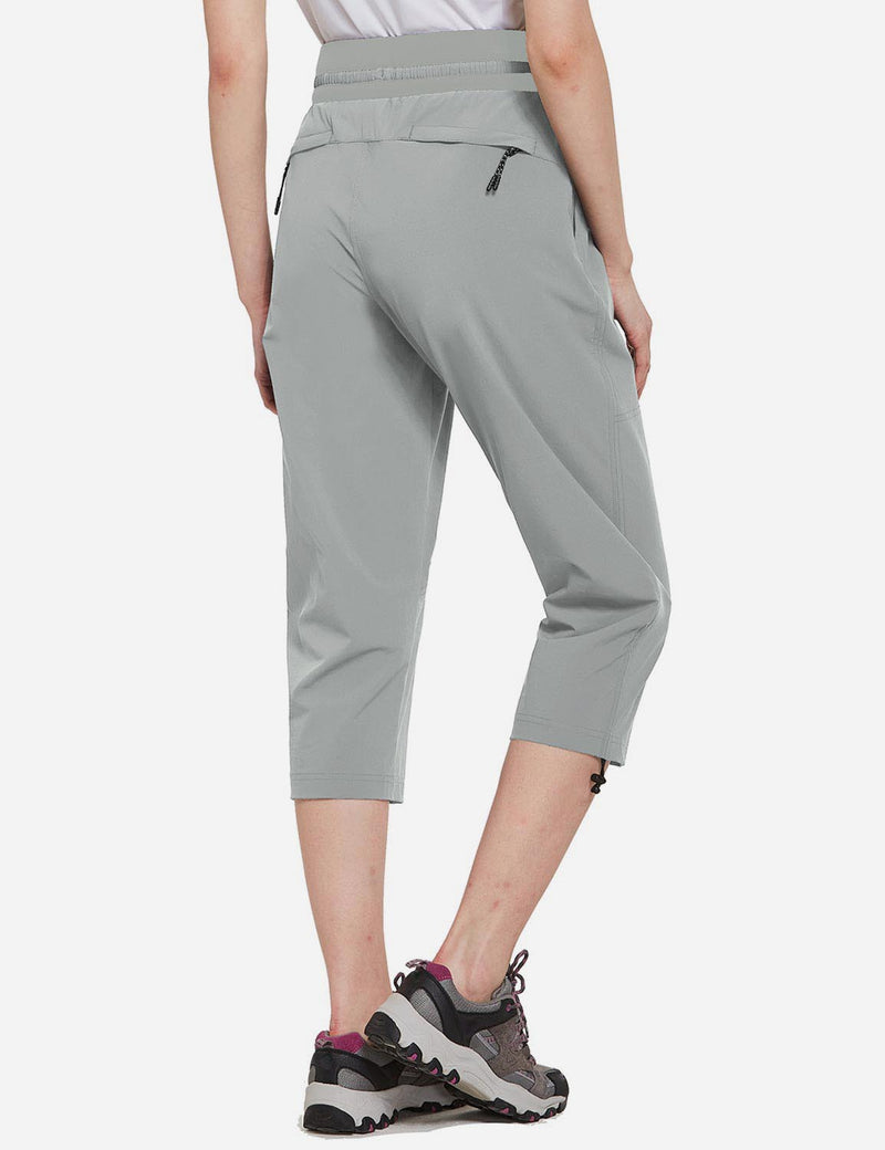 Baleaf Womens UPF50+ Mid-Rise Lightweight Adjustable Cuffs Outdoor Capris Light Gray Back