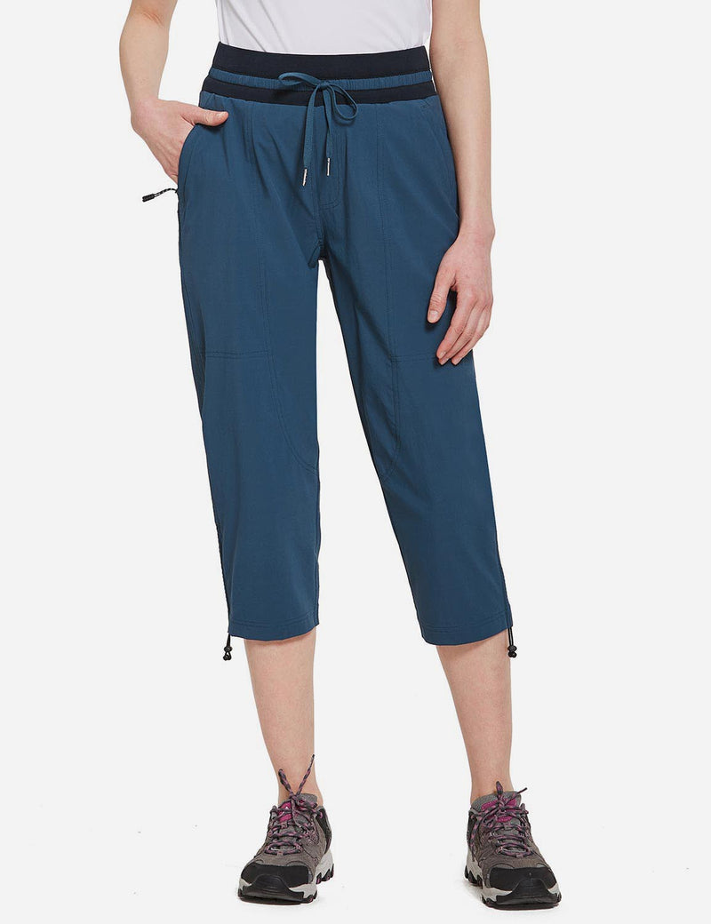 Baleaf Womens UPF50+ Mid-Rise Lightweight Adjustable Cuffs Outdoor Capris Blue front