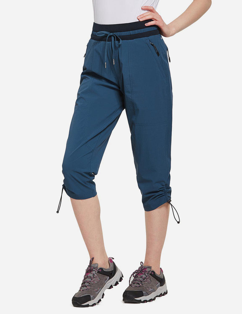 Baleaf Womens UPF50+ Mid-Rise Lightweight Adjustable Cuffs Outdoor Capris Blue side