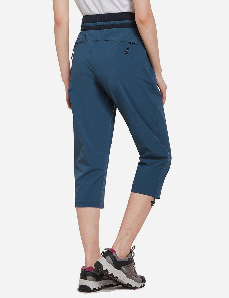 Baleaf Womens UPF50+ Mid-Rise Lightweight Adjustable Cuffs Outdoor Capris Blue back